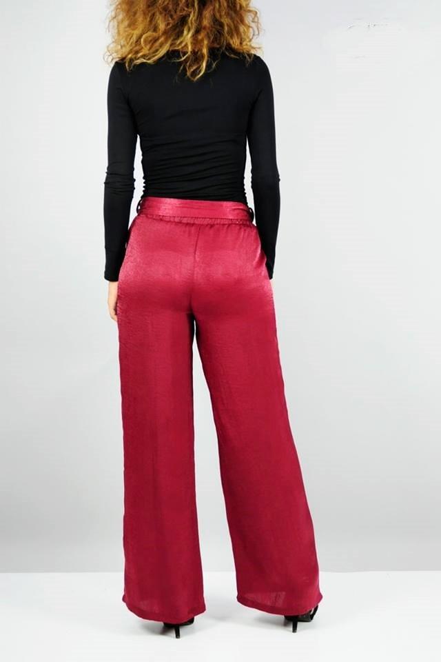 Σατέν παντελόνα με πλαινές τσέπες και ζώνη - Penelope Style and ... c884ac9fd42